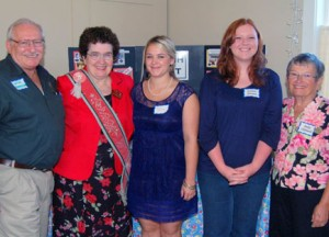 2010 Scholarship recipients Amber Strand and Molly Jo Ballard. Pictured, left to right: Jack and June Hendrickson, Molly Jo Ballard, Amber Strand and Scholarship Committee Chair, Sally Gililand