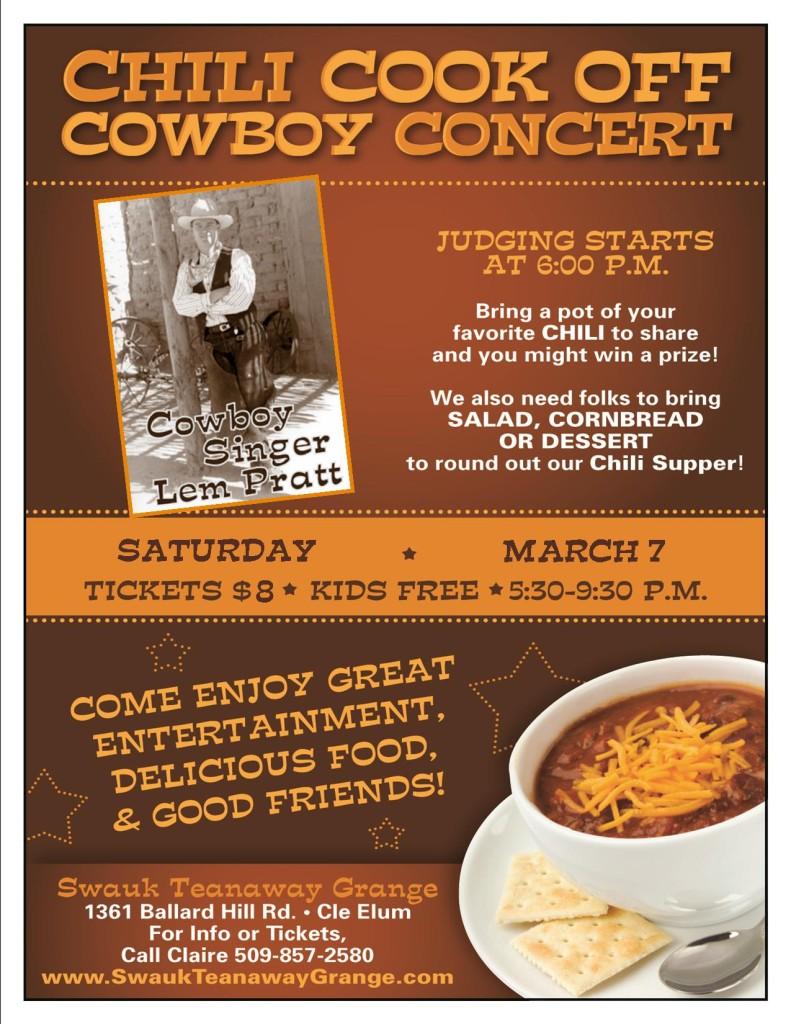 Chili Cook Off & Cowboy Concert 2015 @ Swauk-Teanaway Grange Hall | Cle Elum | Washington | United States