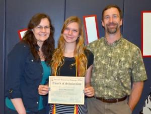 2014 Scholarship Recipient Julia Bramstedt and her parents Daniel and Lorraine