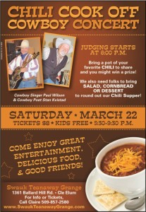 2014 Chili Cook Off & Cowboy Concert @ Swauk-Teanaway Grange Hall | Cle Elum | Washington | United States