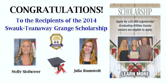 Swauk-Teanaway Grange scholarship recipients