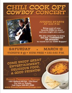 Chili Cook Off and Cowboy Concert 2016 @ Swauk-Teanaway Grange hall | Cle Elum | Washington | United States