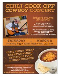Grange Chili Cook Off & Cowboy Concert @ Swauk Teanaway Grange | Cle Elum | Washington | United States