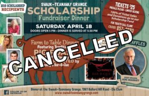 CANCELED  Grange Scholarship Fundraiser Dinner @ Swauk Teanaway Grange | Cle Elum | Washington | United States