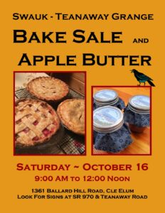 Bake Sale and Apple Butter Sale at the Grange @ Swauk-Teanaway Grange | Cle Elum | Washington | United States